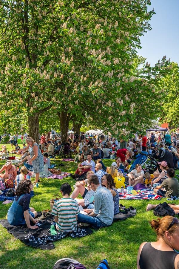 夏天庭院观点的与户外许多人和家庭的小组在有一个绿色的领域野餐在瑞典国庆节 图库摄影