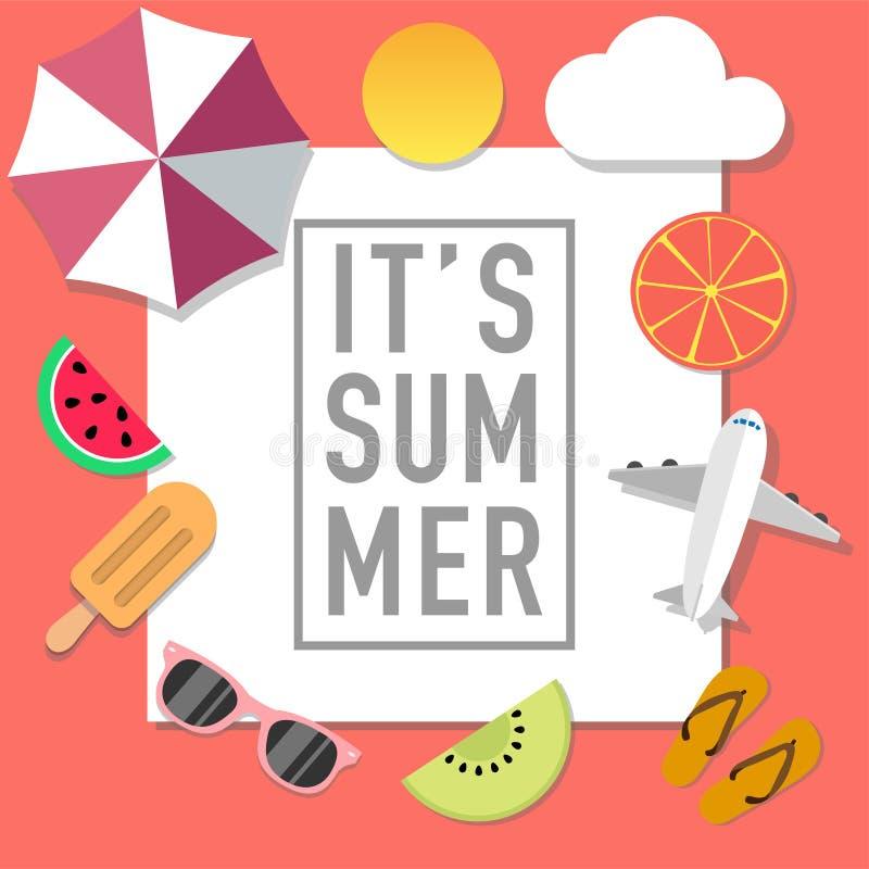 夏天心情与许多对象的样式广告 向量例证