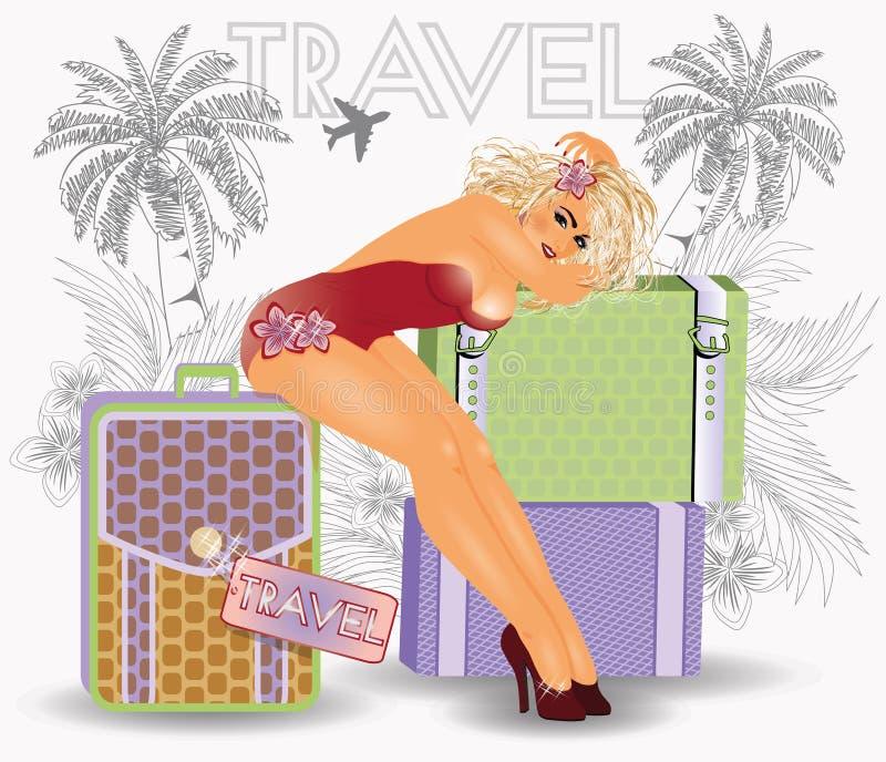 夏天性感的女孩的旅行别针 向量例证