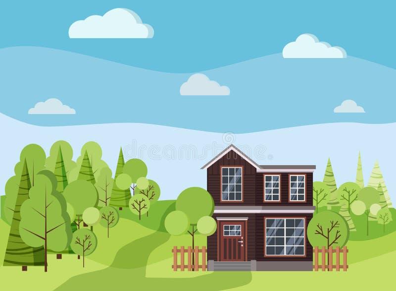 夏天或春天与两层房子的背景风景有篱芭的,绿色树,云杉,云彩,路 库存例证