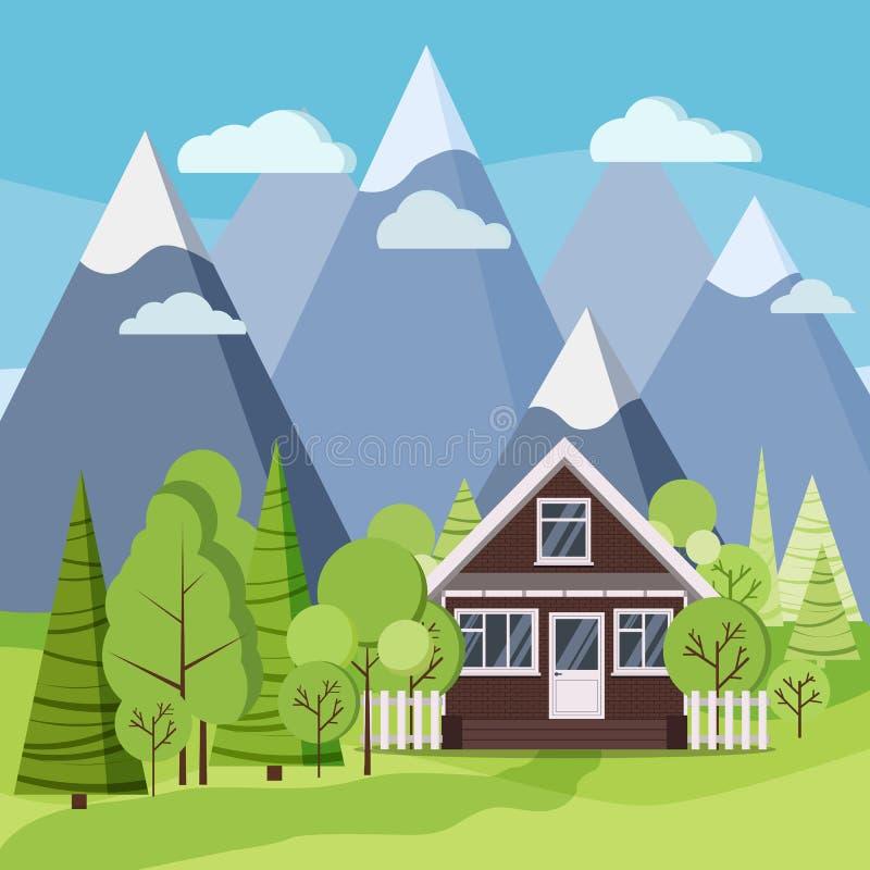 夏天或春天山环境美化与砖有篱芭的,绿色树,云杉,云彩,路农厂房子 向量例证