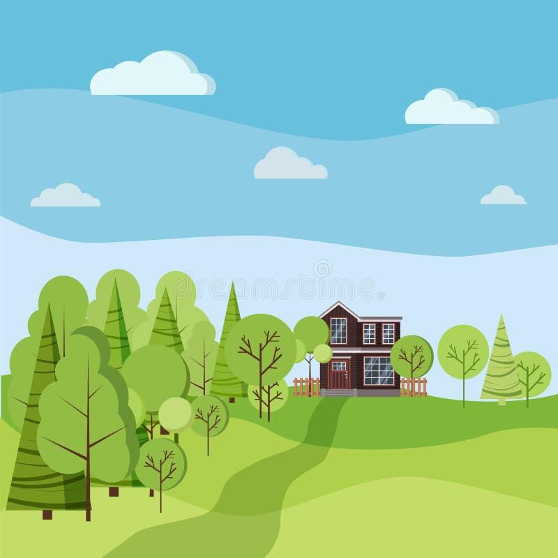 夏天或春天背景与国家两层房子的风景场面有篱芭的 皇族释放例证