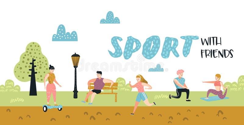 夏天户外运动活动 公园海报的活跃人,横幅 跑,瑜伽,路辗,健身 字符锻炼 皇族释放例证
