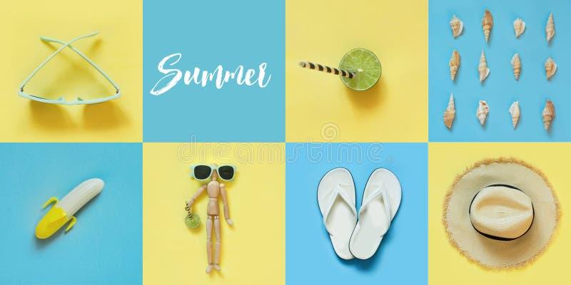 夏天拼贴画和海滩蓝色和黄色的成套装备游人 汽车城市概念都伯林映射小的旅行 免版税库存图片