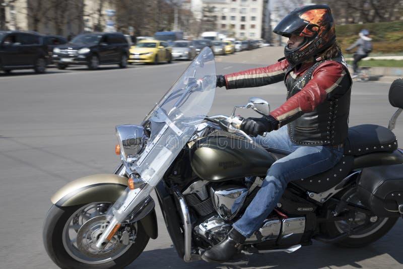 夏天摩托车季节的正式开幕在索非亚,保加利亚 库存图片