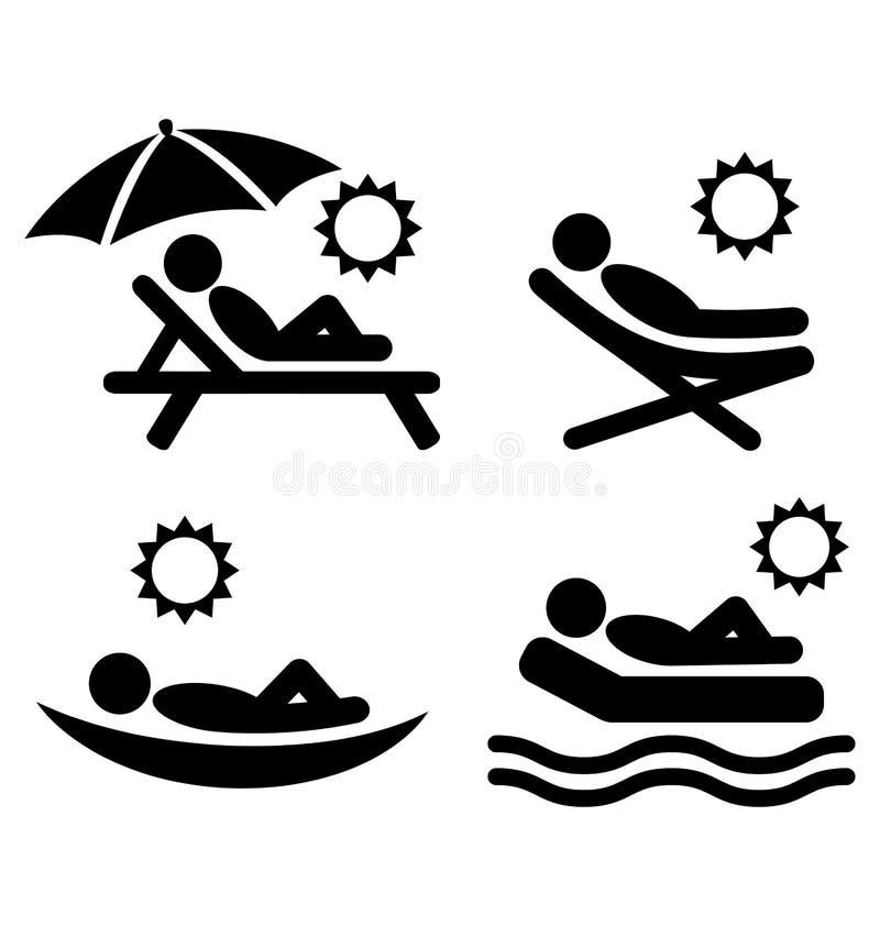 夏天放松被隔绝的晒日光浴的图表平的人象  皇族释放例证