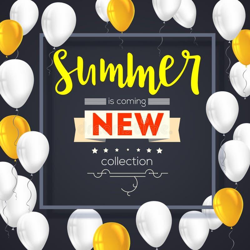 夏天新的汇集横幅 葡萄酒样式与图表元素和飞行可膨胀的文本海报,五颜六色 向量例证
