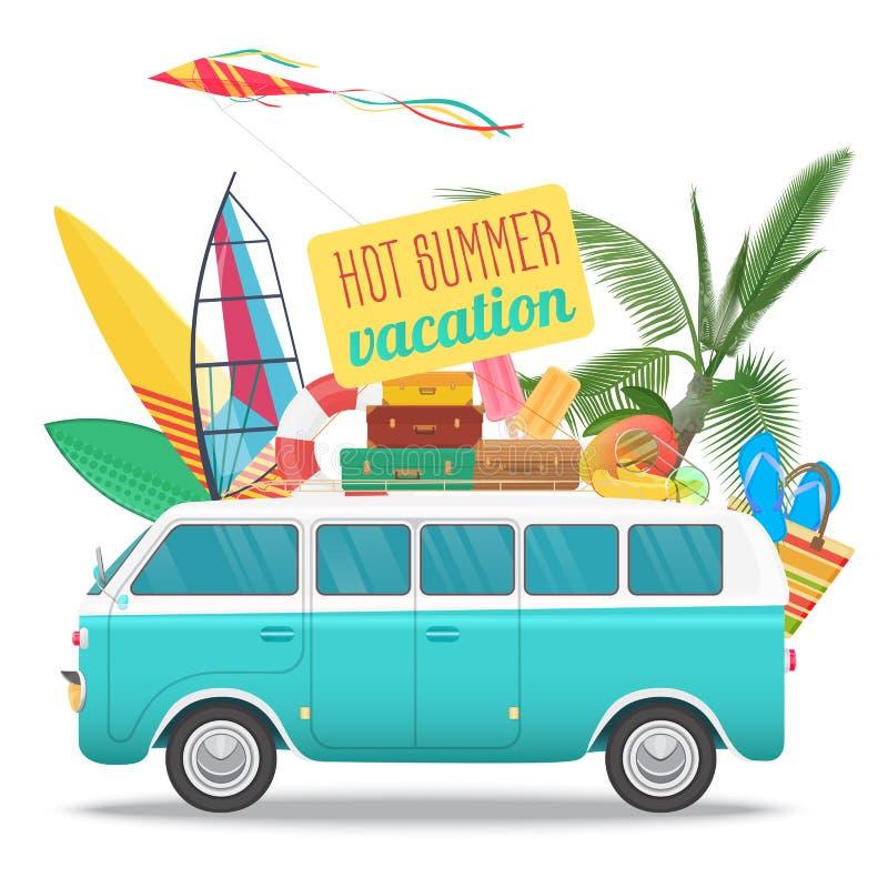 夏天旅行与葡萄酒公共汽车的传染媒介例证 海滩概念商标 夏天旅游业、旅行、旅行和冲浪者 库存例证