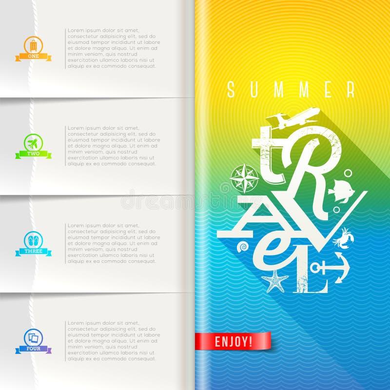 夏天旅行小册子模板设计 库存例证