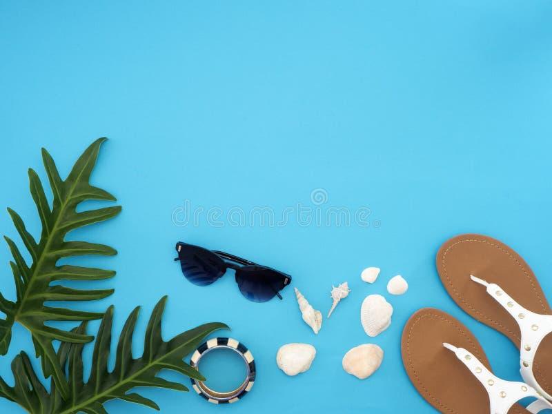 夏天旅行想法和海滩对象 库存图片