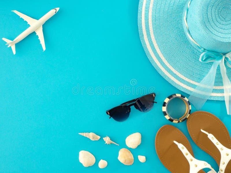 夏天旅行想法和海滩对象 免版税图库摄影