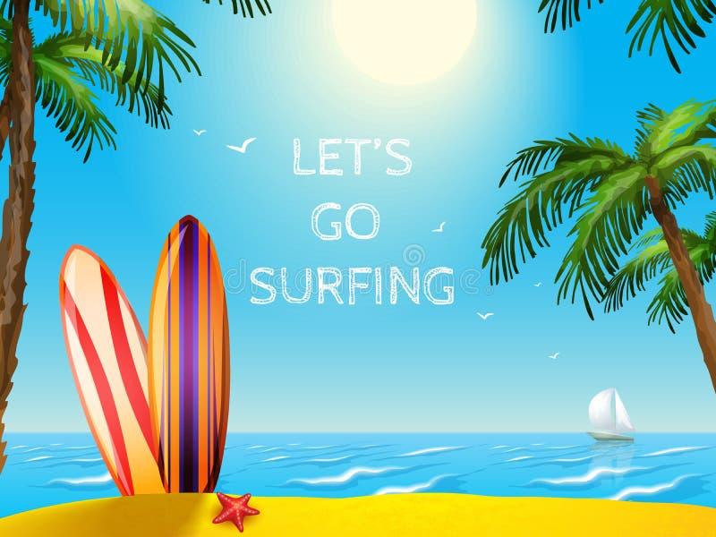夏天旅行海报冲浪板背景 皇族释放例证