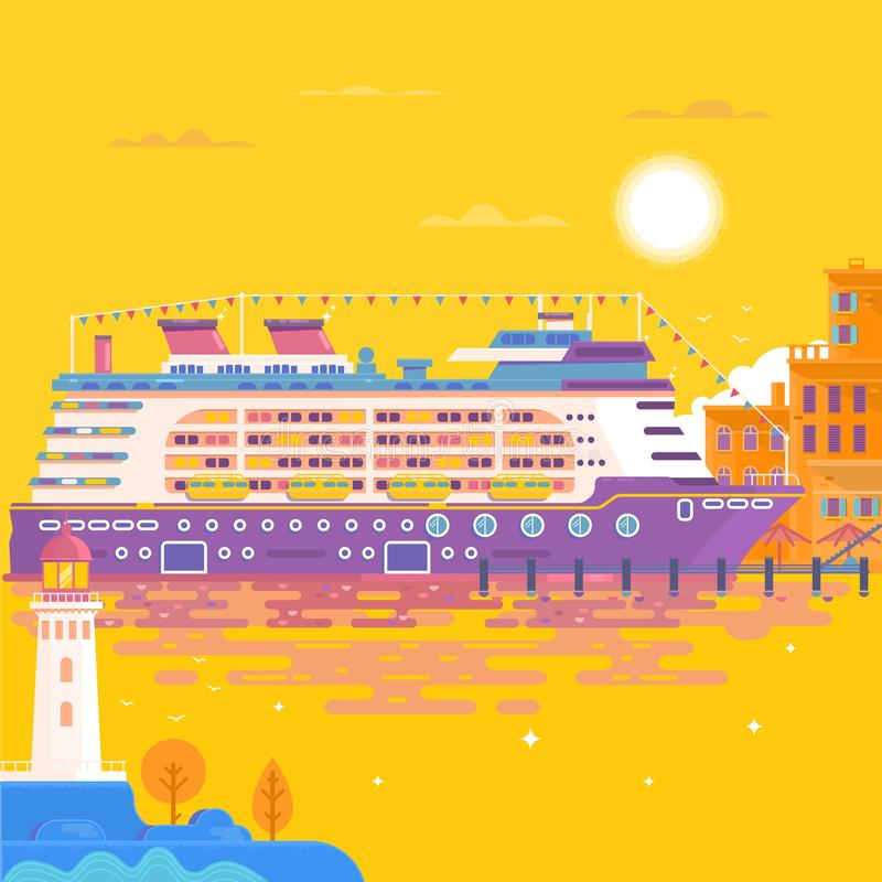 夏天旅行游轮 海运横向 皇族释放例证