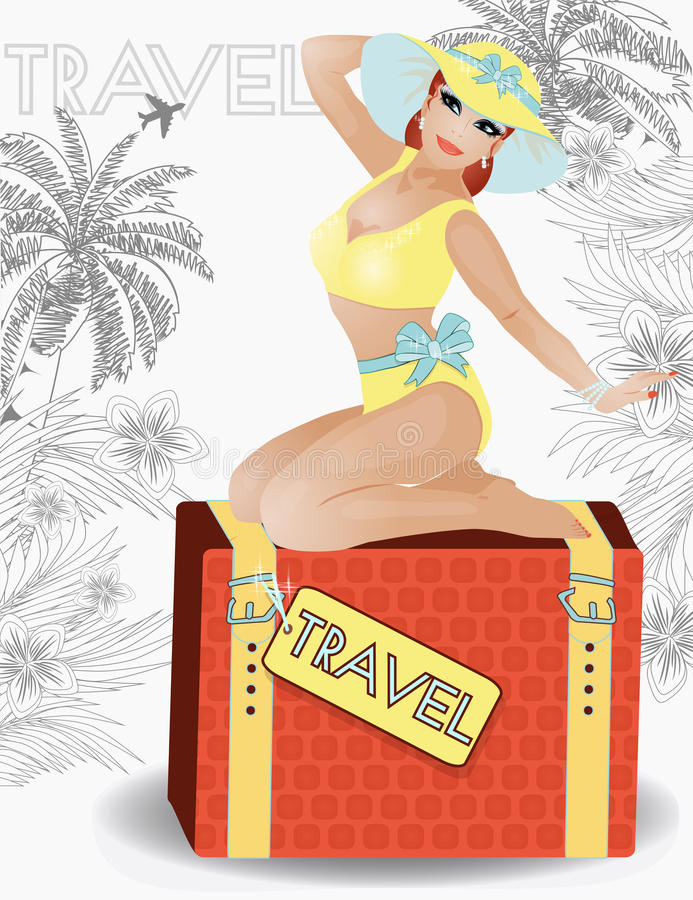 夏天旅行秀丽女孩画报,传染媒介 向量例证