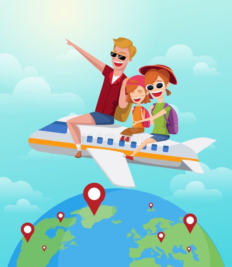 夏天旅途,旅行概念 在飞机上的愉快的家庭乘驾在度假 外籍动画片猫逃脱例证屋顶向量 皇族释放例证