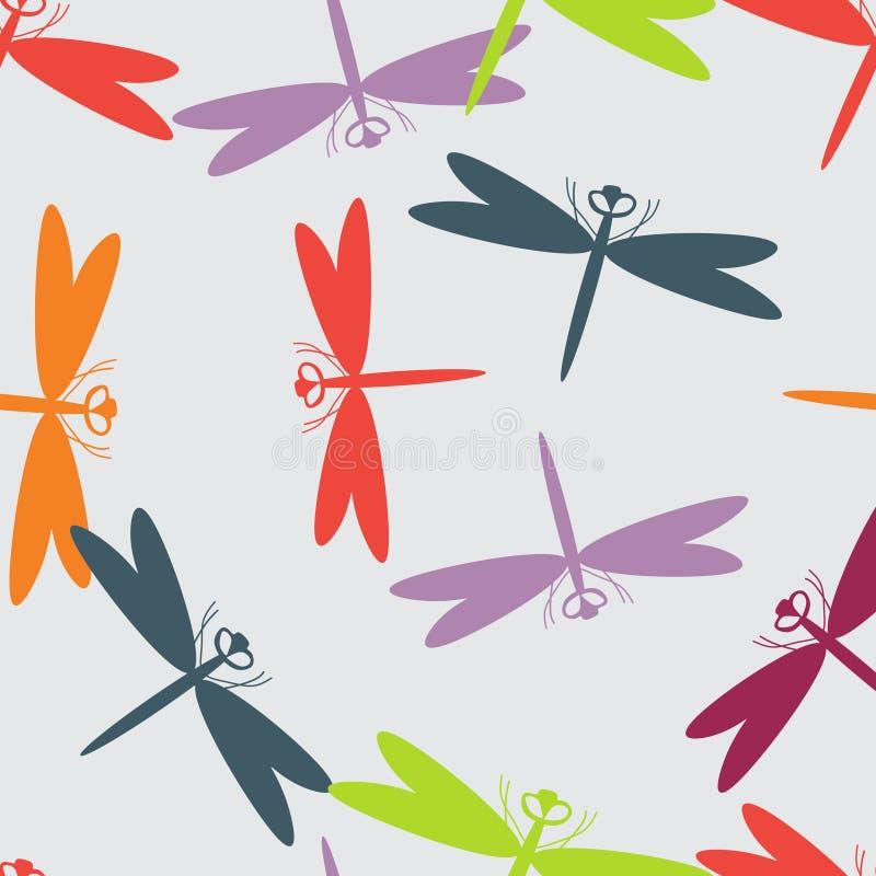 夏天无缝的样式动物蜻蜓 库存照片
