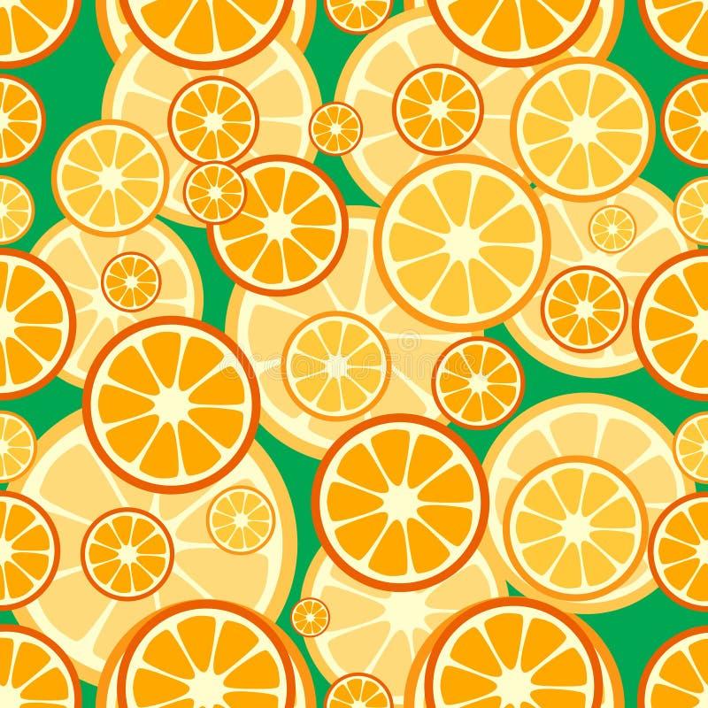 夏天无缝的样式桔子果子 免版税库存图片