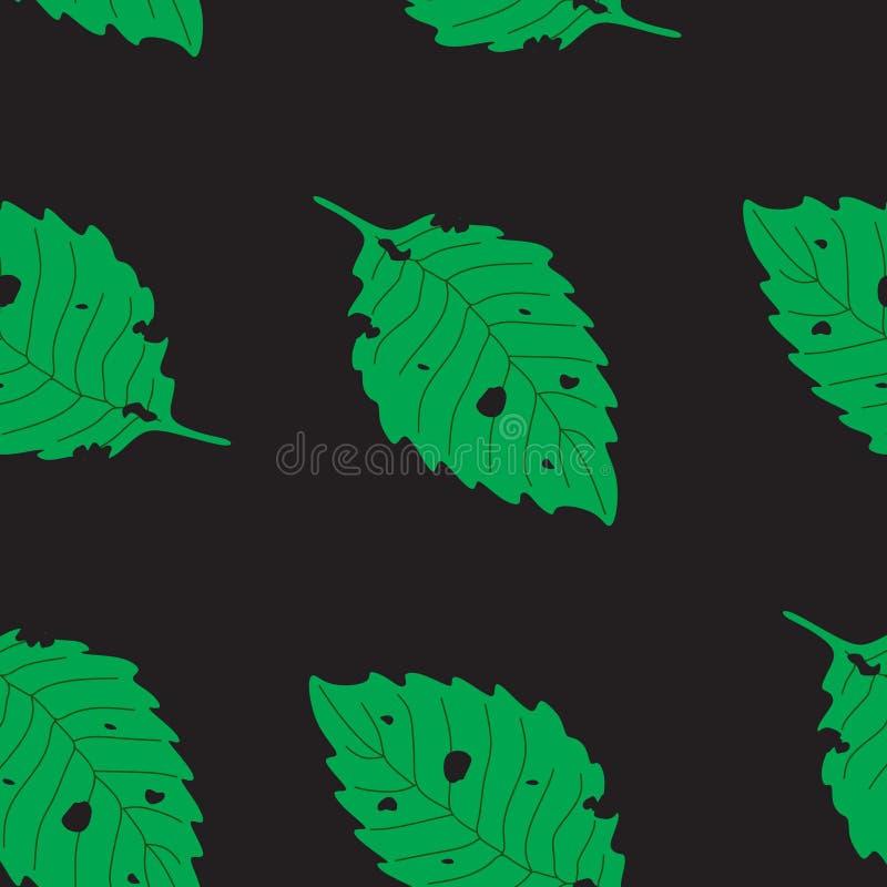 夏天无缝的样式毛虫咬住的叶子 免版税库存图片
