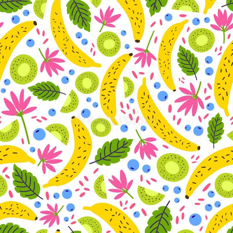 夏天无缝的样式用新鲜的异乎寻常的果子、莓果、花和叶子在白色背景 成杂色季节性 皇族释放例证