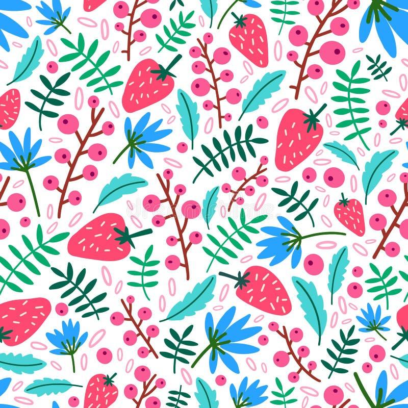 夏天无缝的样式用草莓、花和叶子在白色背景 与成熟狂放的自然背景 向量例证