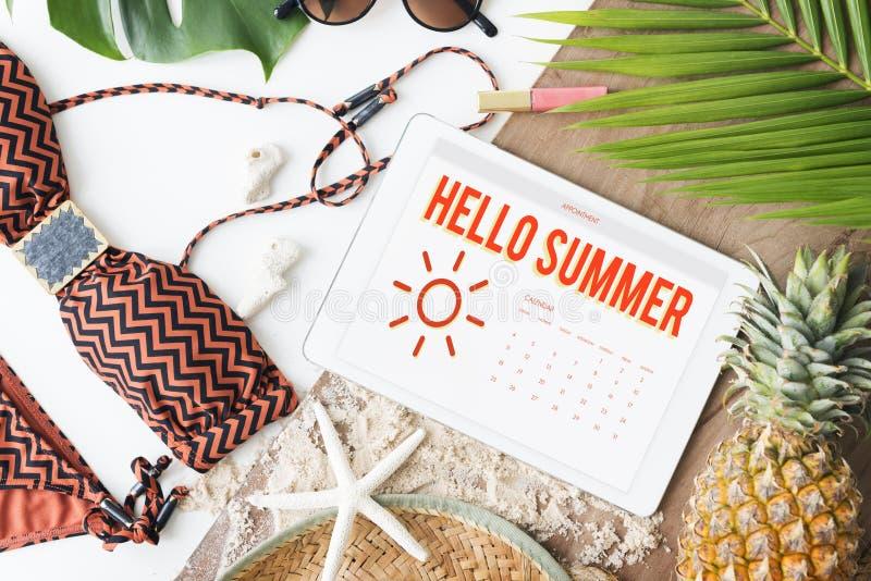 夏天日历日程表乐趣幸福概念 库存照片
