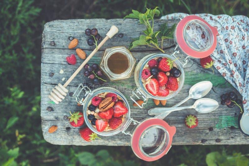 夏天早餐酸奶用莓果和果子在玻璃瓶子 库存图片
