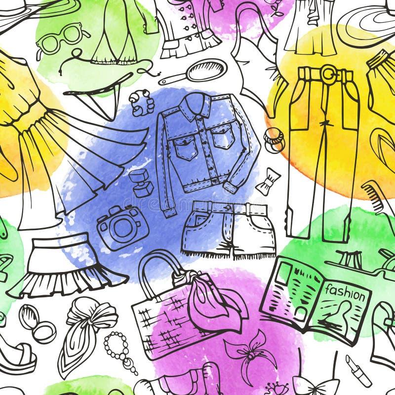 夏天时尚无缝的样式 女服,水彩啤酒杯 库存例证