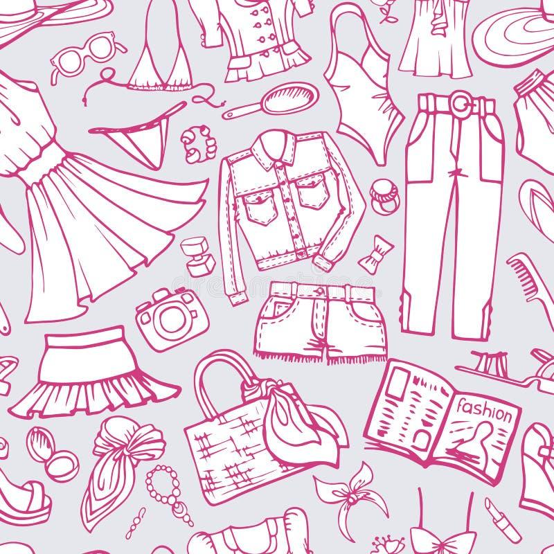 夏天时尚无缝的样式 女服 乱画 向量例证