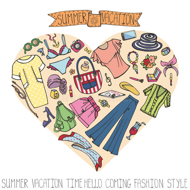 夏天时尚集合 妇女在心脏上色了假期穿戴 向量例证