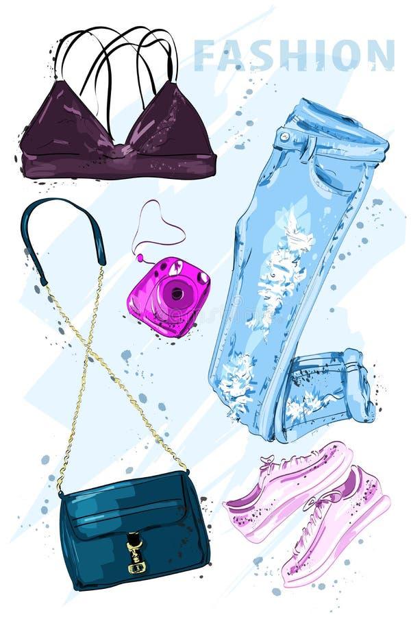 夏天时尚集合 时尚成套装备 时髦的时髦衣物 时尚夏天被设置的女孩衣裳,辅助部件 妇女` s时尚神色 向量例证