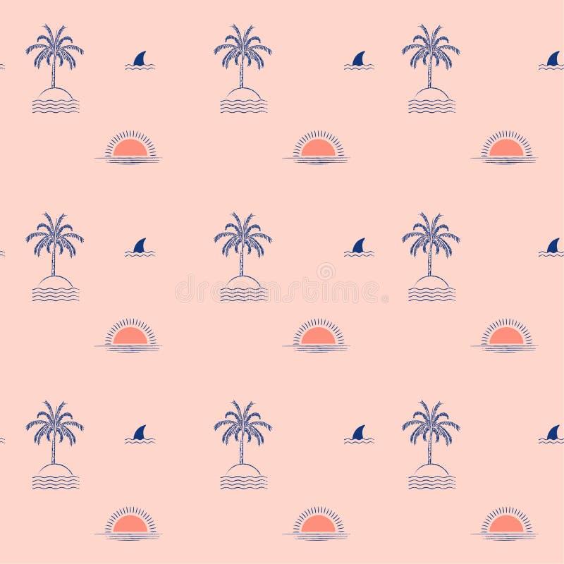 夏天时髦热带棕榈树海岛,波浪,太阳,海滩,时尚的,织品飞翅鲨鱼最小的重复无缝的样式设计, 向量例证