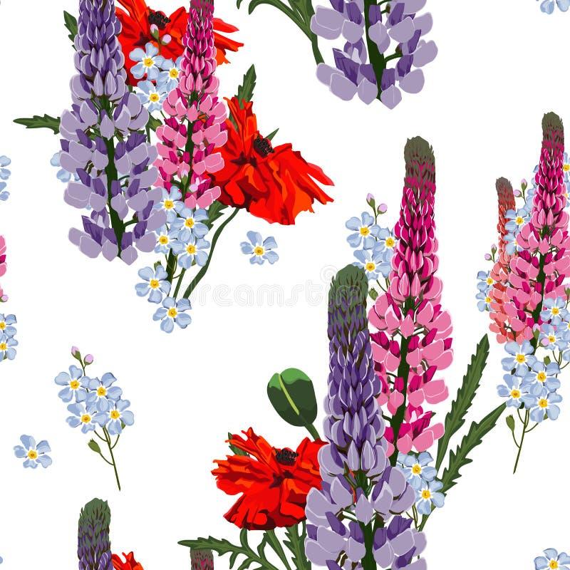 夏天春天狂放的羽扇豆桃红色,紫罗兰色花、红色鸦片和蓝色勿忘草花 皇族释放例证