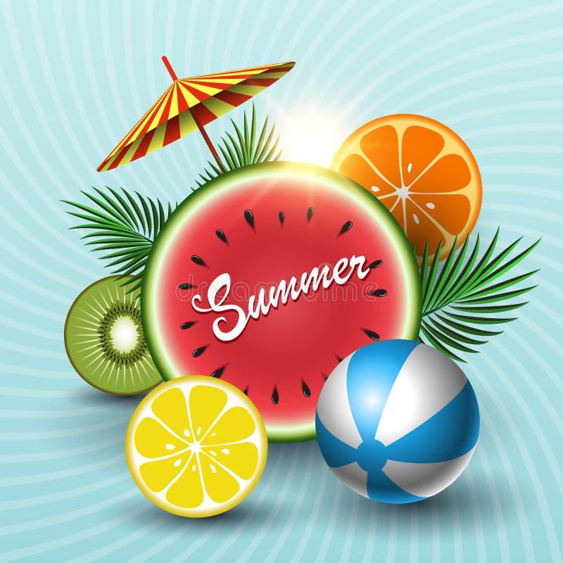 夏天晴朗的销售横幅用圈子西瓜,猕猴桃,桔子,石灰,海滩球,棕榈叶,在蓝色背景的伞 ?? 库存例证