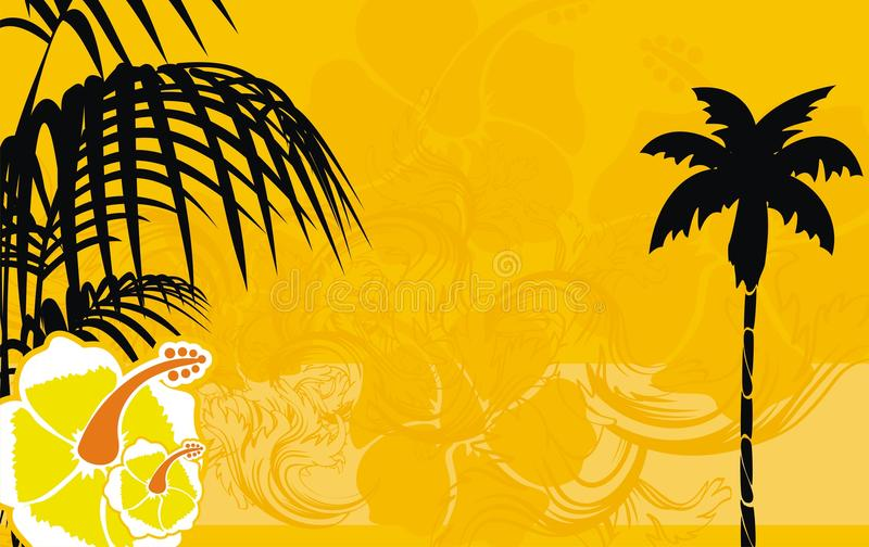 夏天木槿花热带夏威夷背景 库存例证