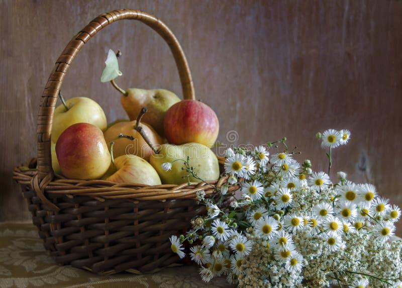 夏天果子和花心情 芬芳春黄菊和成熟甜苹果 图库摄影