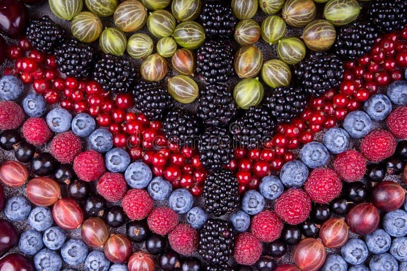 夏天果子和莓果的几何样式:鹅莓, r 免版税图库摄影