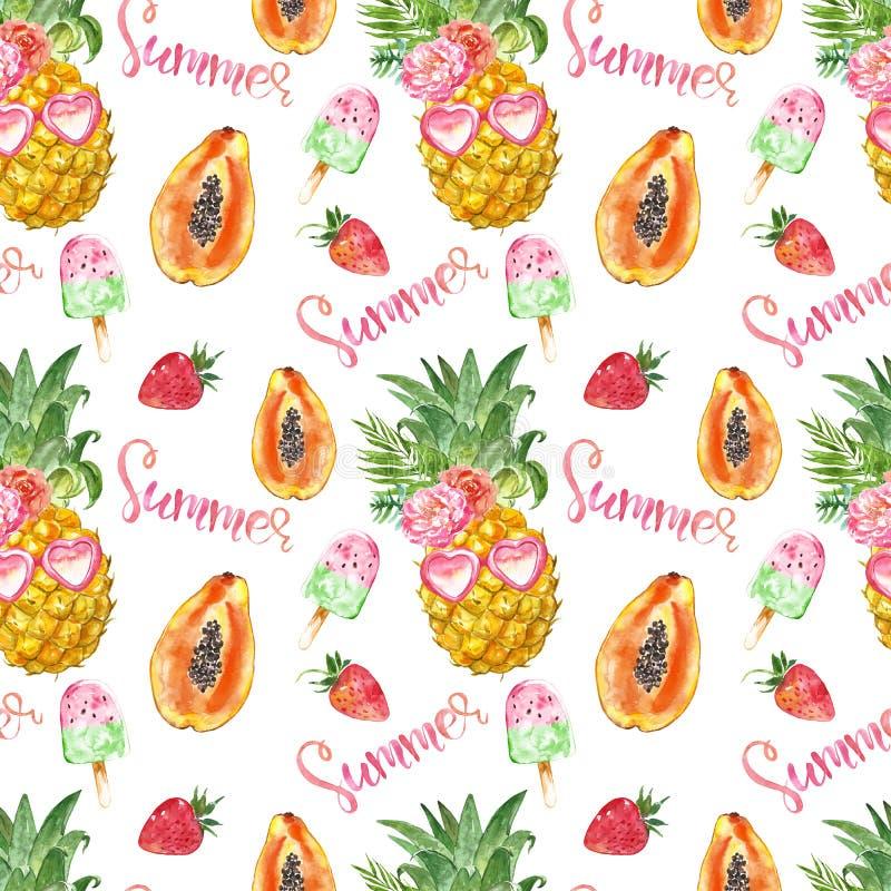 夏天果子无缝的样式 乐趣和逗人喜爱的印刷品与菠萝、番木瓜、草莓和果子冰棍儿在白色背景 库存例证