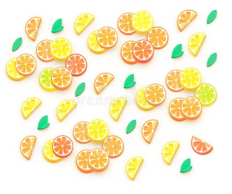 夏天果子3D等量例证,桔子,柠檬,葡萄柚,石灰 背景构成 橙树叶子 皇族释放例证