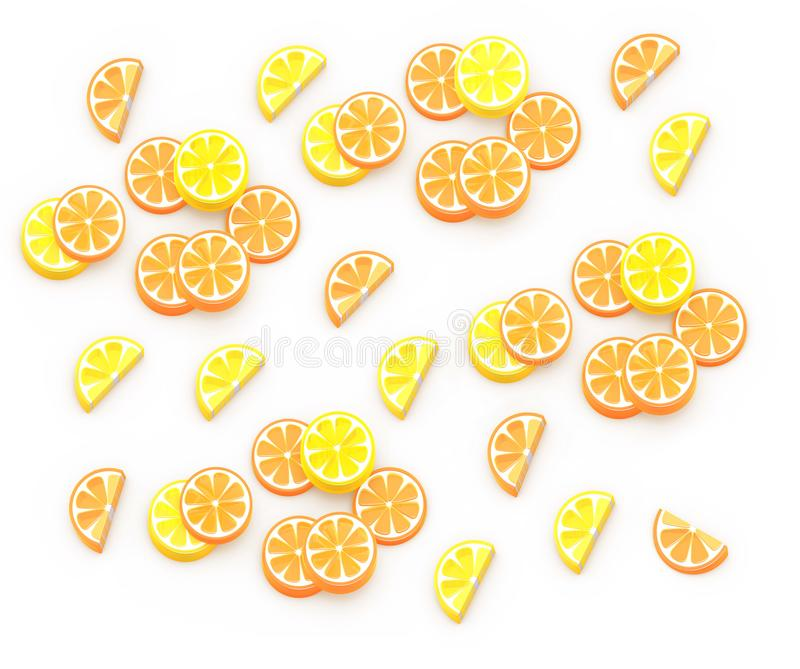 夏天果子3D等量例证,桔子,柠檬,葡萄柚,石灰 背景构成 库存例证