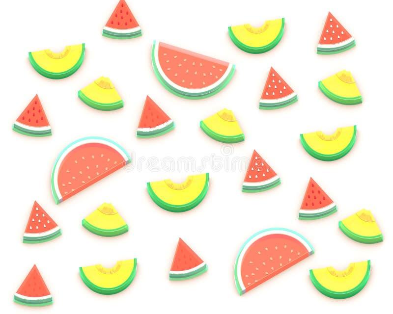 夏天果子3D等量例证 向量例证