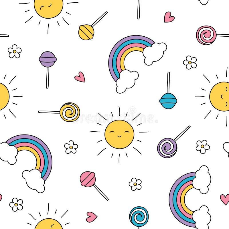 夏天棒棒糖淡色彩虹太阳无缝的样式 向量例证