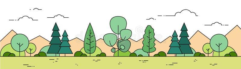 夏天森林山风景视图稀薄的线横幅 库存例证