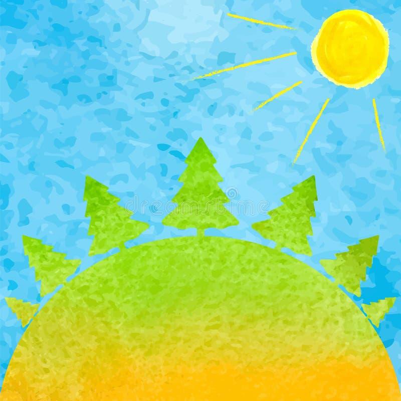 夏天森林水彩 水彩风景树、太阳和bl 库存例证
