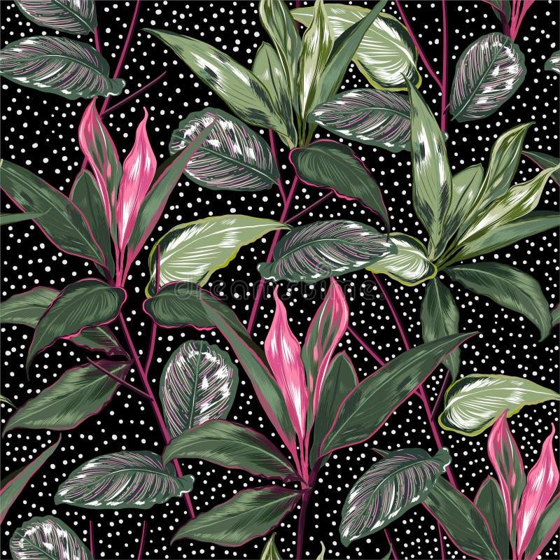 夏天植物的植物和狂放的森林传染媒介无缝的样式与圆点为时尚,织品,网,墙纸设计,包裹, 皇族释放例证
