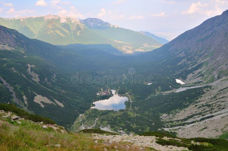 夏天横向 湖和山瑞士山中的牧人小屋 库存照片