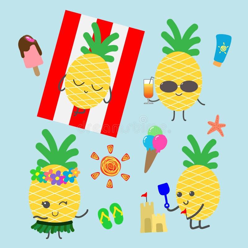 夏天横幅背景的滑稽的菠萝字符 库存照片