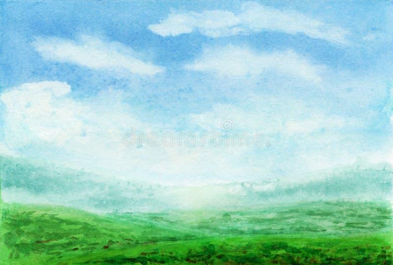 夏天水彩风景 春天与山的水彩风景,天空蔚蓝,云彩,绿色沼地领域和 免版税库存图片