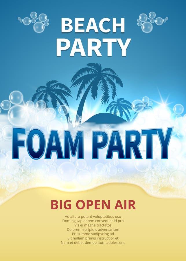 夏天泡沫党传染媒介海报 与肥皂泡的热带手段海滩邀请 向量例证