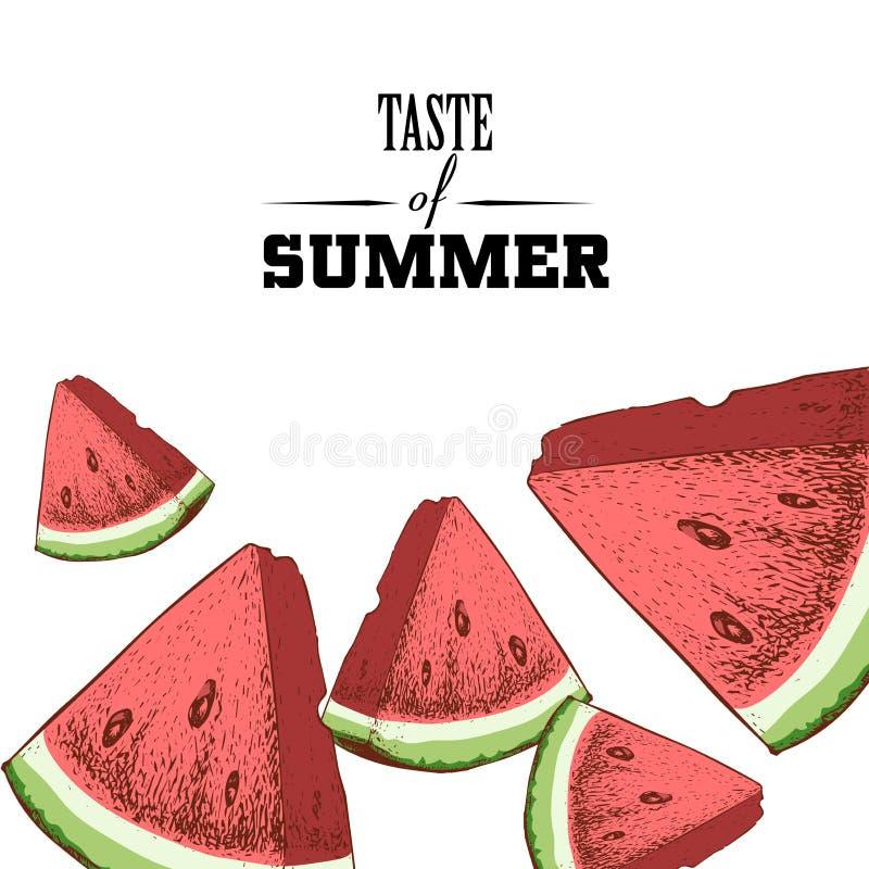 夏天海报设计模板口味  手拉的五颜六色的西瓜切片 库存例证