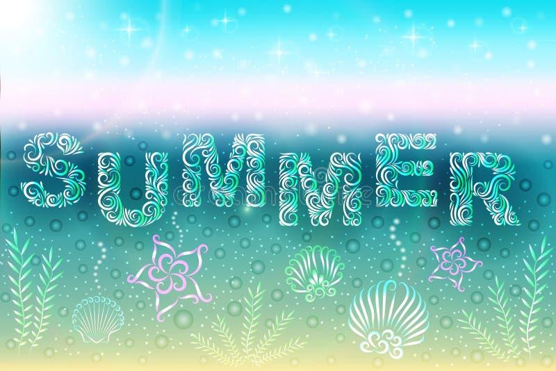 夏天海洋comportion:题字夏天、壳、海草、泡影和海星 ? E ?? 向量例证